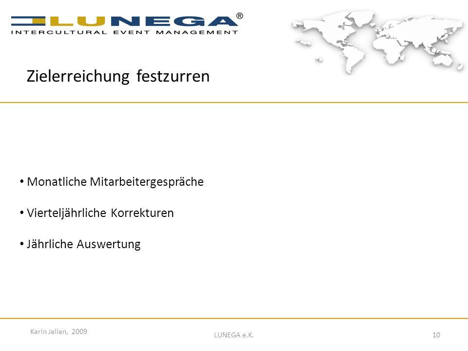 10 Karin Jellen, 2009 LUNEGA e.K. Monatliche Mitarbeitergespräche Vierteljährliche Korrekturen Jährliche Auswertung Zielerreichung festzurren