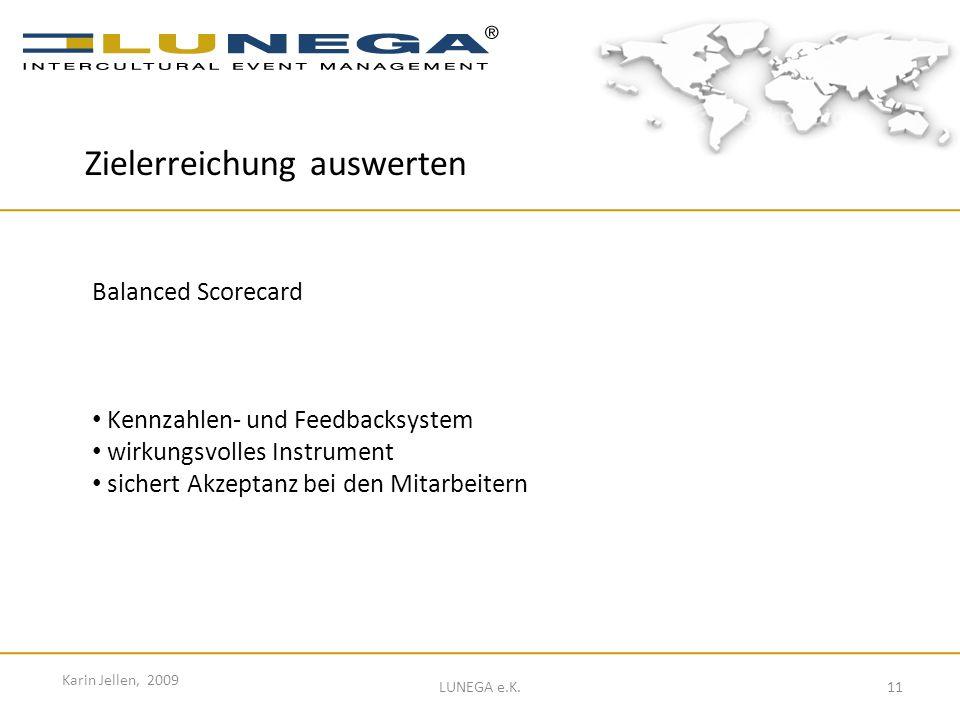 11 Karin Jellen, 2009 LUNEGA e.K. Balanced Scorecard Kennzahlen- und Feedbacksystem wirkungsvolles Instrument sichert Akzeptanz bei den Mitarbeitern Z