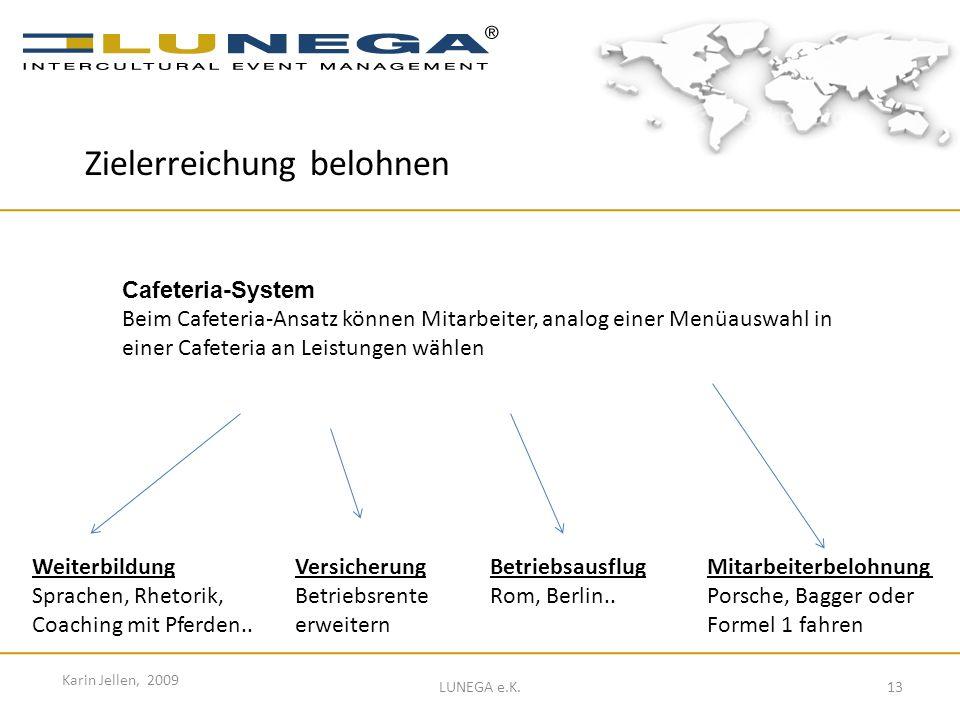 13 Karin Jellen, 2009 LUNEGA e.K. Cafeteria-System Beim Cafeteria-Ansatz können Mitarbeiter, analog einer Menüauswahl in einer Cafeteria an Leistungen