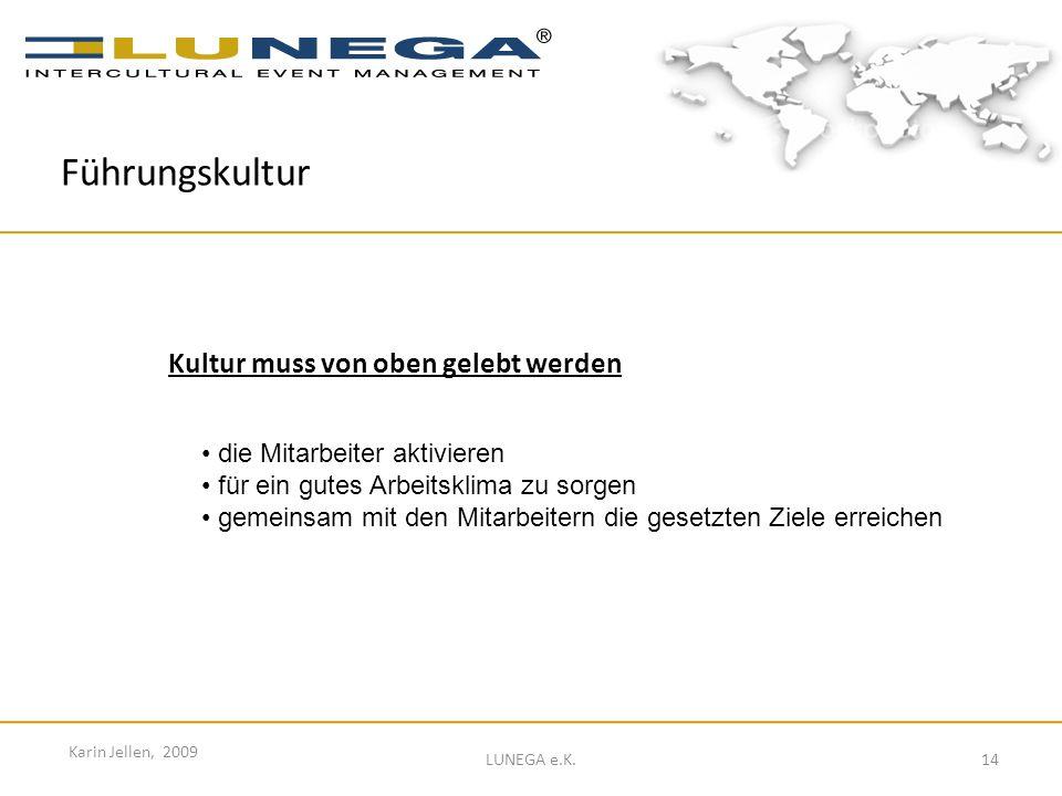 14 Karin Jellen, 2009 LUNEGA e.K. Führungskultur Kultur muss von oben gelebt werden die Mitarbeiter aktivieren für ein gutes Arbeitsklima zu sorgen ge