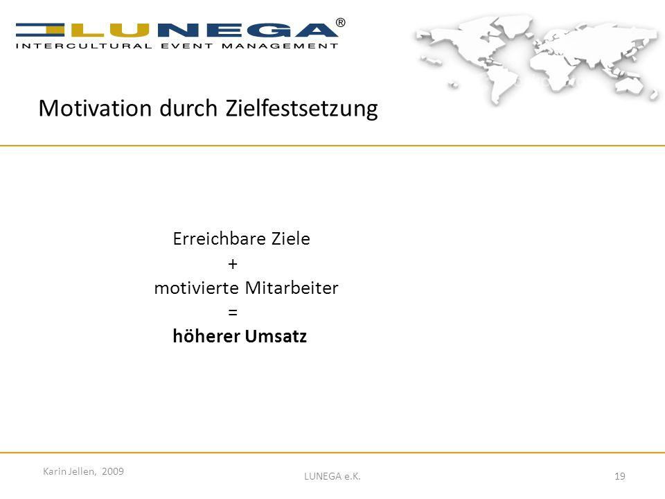 19 Karin Jellen, 2009 LUNEGA e.K. Erreichbare Ziele + motivierte Mitarbeiter = höherer Umsatz Motivation durch Zielfestsetzung