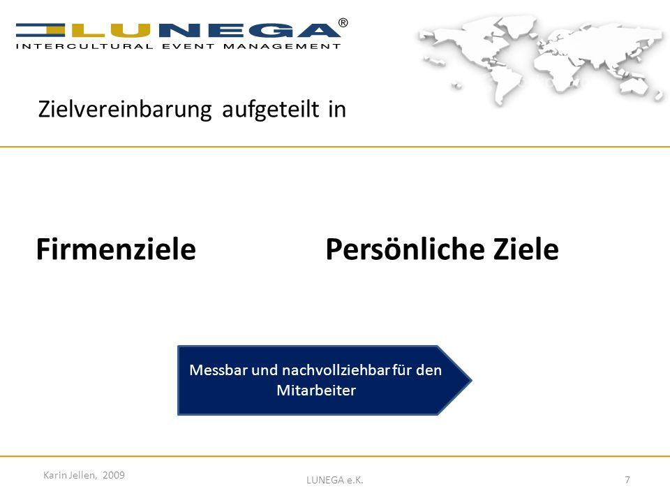 7 Karin Jellen, 2009 LUNEGA e.K. Firmenziele Persönliche Ziele Zielvereinbarung aufgeteilt in Messbar und nachvollziehbar für den Mitarbeiter