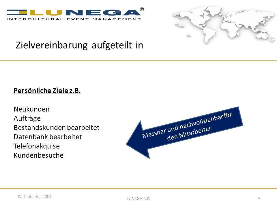 9 Karin Jellen, 2009 LUNEGA e.K. Persönliche Ziele z.B. Neukunden Aufträge Bestandskunden bearbeitet Datenbank bearbeitet Telefonakquise Kundenbesuche