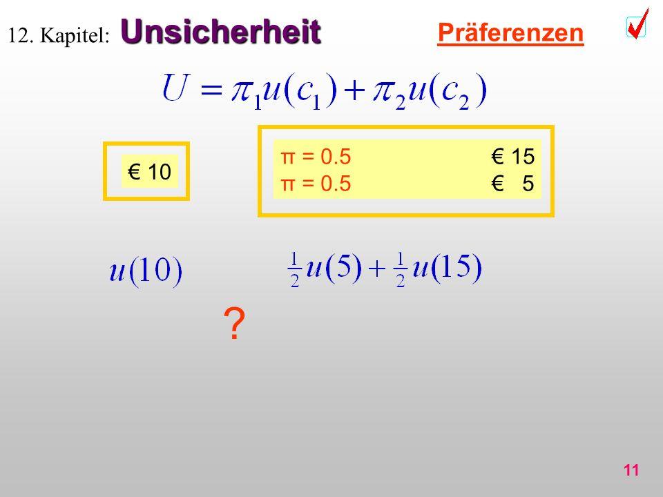 11 Unsicherheit 12. Kapitel: Unsicherheit Präferenzen π = 0.5 15 π = 0.5 5 10 ?