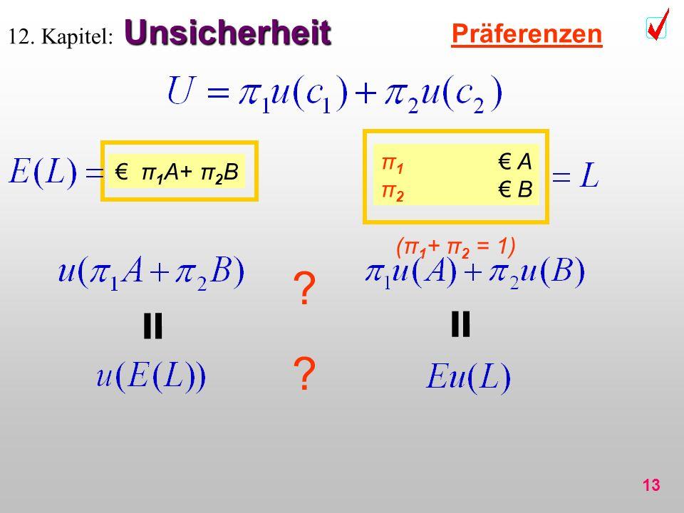 13 Unsicherheit 12. Kapitel: Unsicherheit Präferenzen π 1 A π 2 B π 1 A+ π 2 B ? (π 1 + π 2 = 1) ? = =