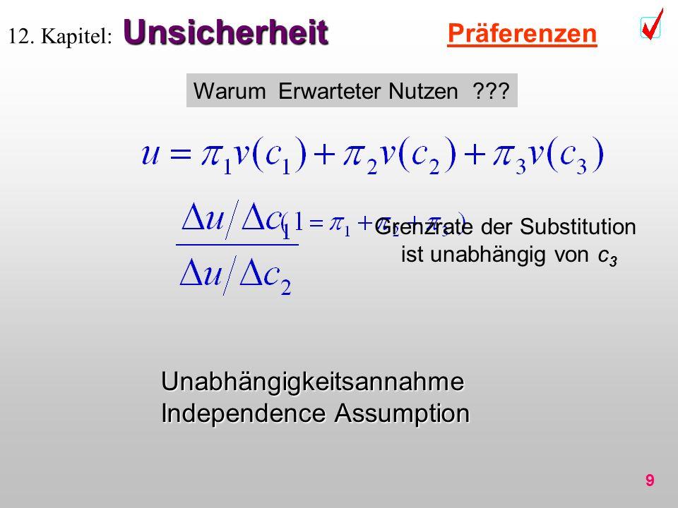9 Unsicherheit 12. Kapitel: Unsicherheit Präferenzen Warum Erwarteter Nutzen ??? Grenzrate der Substitution ist unabhängig von c 3 Unabhängigkeitsanna