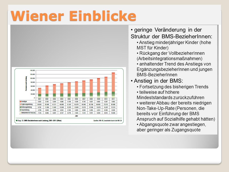 Wiener Einblicke geringe Veränderung in der Struktur der BMS-BezieherInnen: Anstieg minderjähriger Kinder (hohe MST für Kinder) Rückgang der Vollbezie