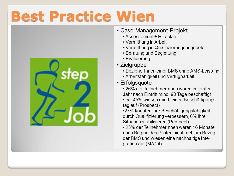 Best Practice Wien Case Management-Projekt Assessement + Hilfeplan Vermittlung in Arbeit Vermittlung in Qualifizierungsangebote Beratung und Begleitun