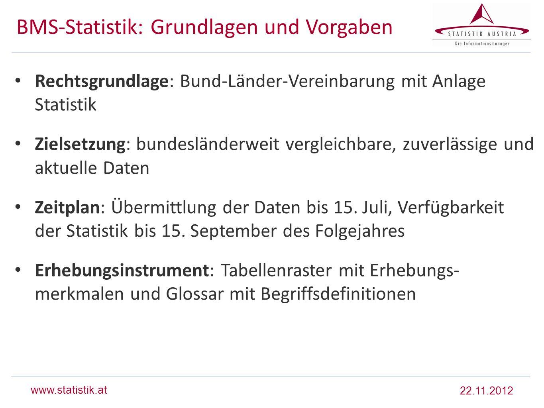 www.statistik.at BMS-Statistik: Grundlagen und Vorgaben Rechtsgrundlage: Bund-Länder-Vereinbarung mit Anlage Statistik Zielsetzung: bundesländerweit v