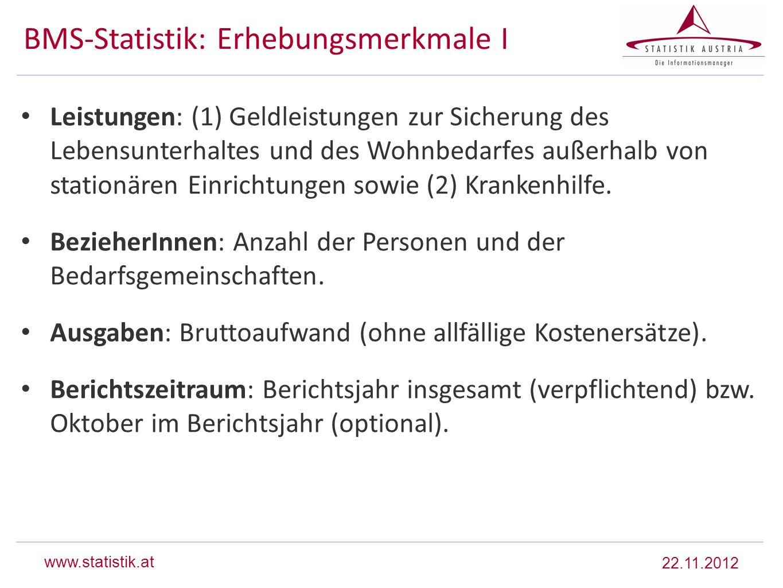 www.statistik.at BMS-Statistik: Erhebungsmerkmale I Leistungen: (1) Geldleistungen zur Sicherung des Lebensunterhaltes und des Wohnbedarfes außerhalb