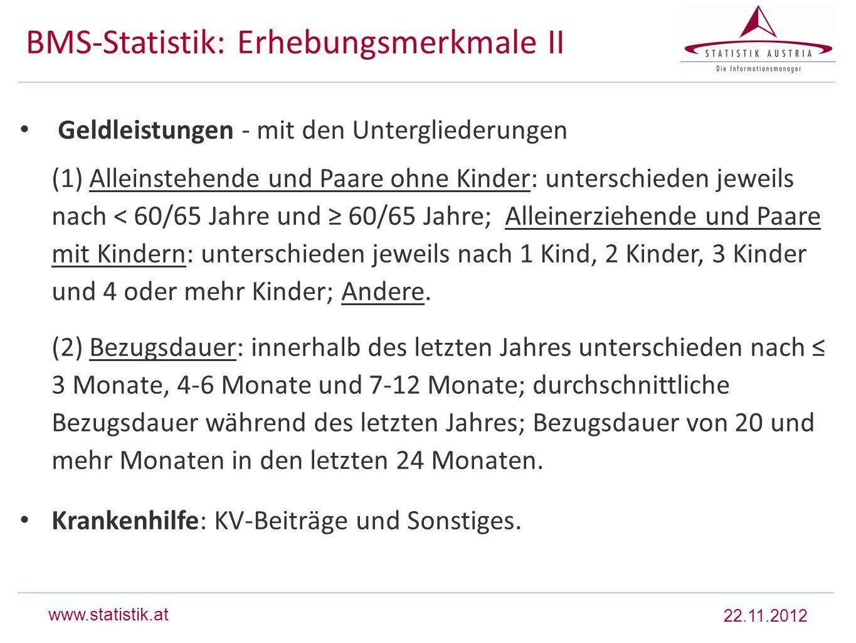 www.statistik.at BMS-Statistik: Erhebungsmerkmale II Geldleistungen - mit den Untergliederungen (1) Alleinstehende und Paare ohne Kinder: unterschiede