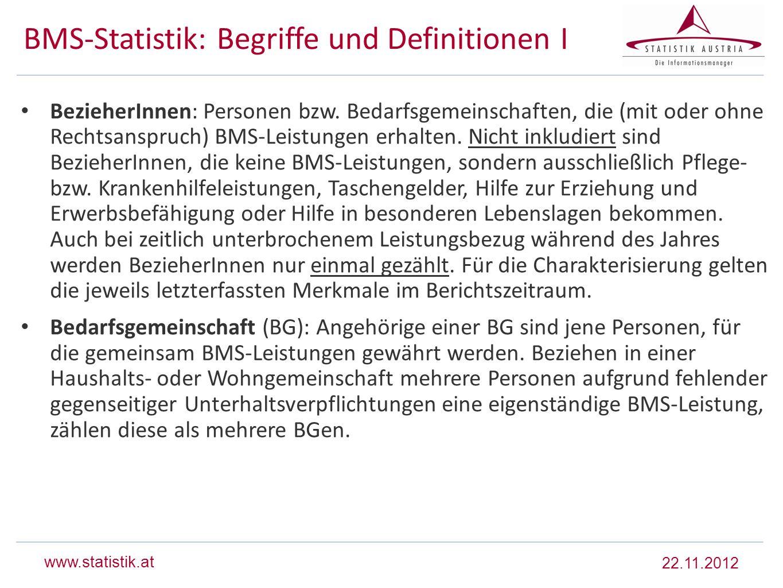 www.statistik.at BMS-Statistik: Begriffe und Definitionen I BezieherInnen: Personen bzw. Bedarfsgemeinschaften, die (mit oder ohne Rechtsanspruch) BMS
