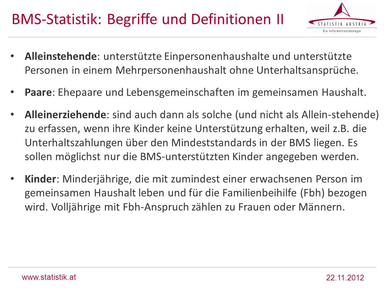 www.statistik.at BMS-Statistik: Begriffe und Definitionen II Alleinstehende: unterstützte Einpersonenhaushalte und unterstützte Personen in einem Mehr