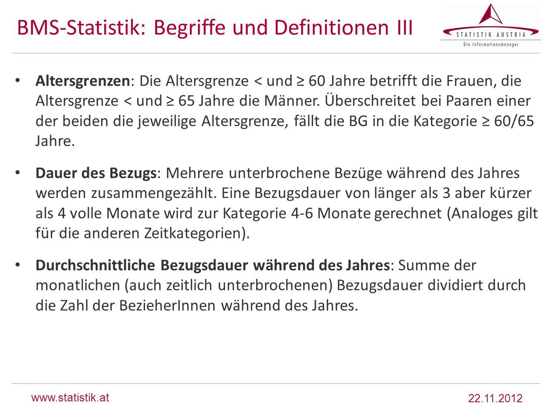 www.statistik.at BMS-Statistik: Begriffe und Definitionen III Altersgrenzen: Die Altersgrenze < und 60 Jahre betrifft die Frauen, die Altersgrenze < u