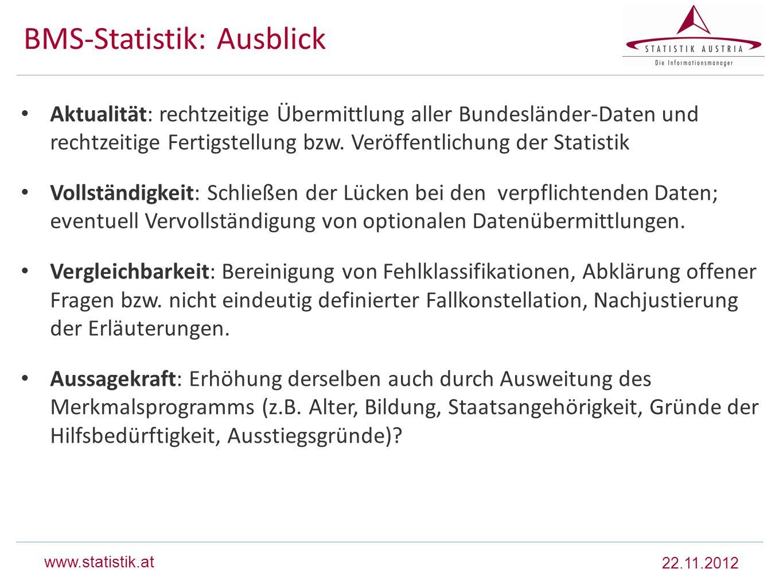 www.statistik.at BMS-Statistik: Ausblick Aktualität: rechtzeitige Übermittlung aller Bundesländer-Daten und rechtzeitige Fertigstellung bzw. Veröffent