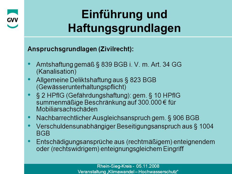 Rhein-Sieg-Kreis - 05.11.2008 Veranstaltung Klimawandel – Hochwasserschutz Einführung und Haftungsgrundlagen Anspruchsgrundlagen (Zivilrecht): Amtshaf