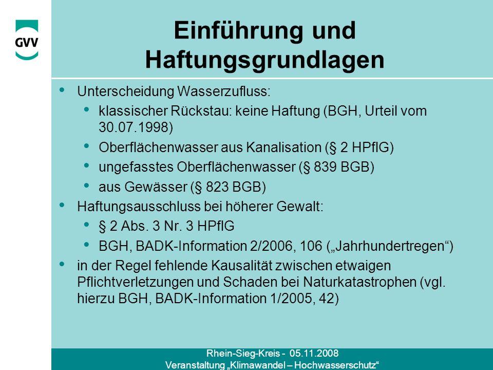 Rhein-Sieg-Kreis - 05.11.2008 Veranstaltung Klimawandel – Hochwasserschutz Einführung und Haftungsgrundlagen Unterscheidung Wasserzufluss: klassischer