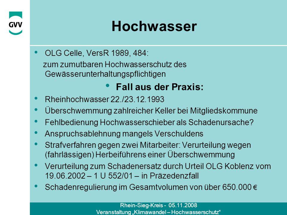 Rhein-Sieg-Kreis - 05.11.2008 Veranstaltung Klimawandel – Hochwasserschutz Hochwasser OLG Celle, VersR 1989, 484: zum zumutbaren Hochwasserschutz des
