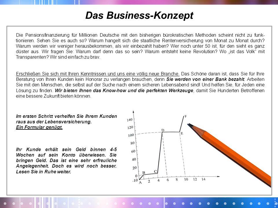 Das Business-Konzept Die Pensionsfinanzierung für Millionen Deutsche mit den bisherigen bürokratischen Methoden scheint nicht zu funk- tionieren. Sehe