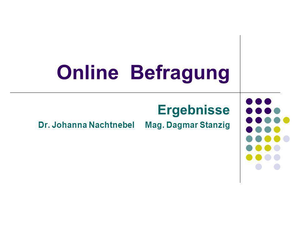 Online Befragung Ergebnisse Dr. Johanna Nachtnebel Mag. Dagmar Stanzig