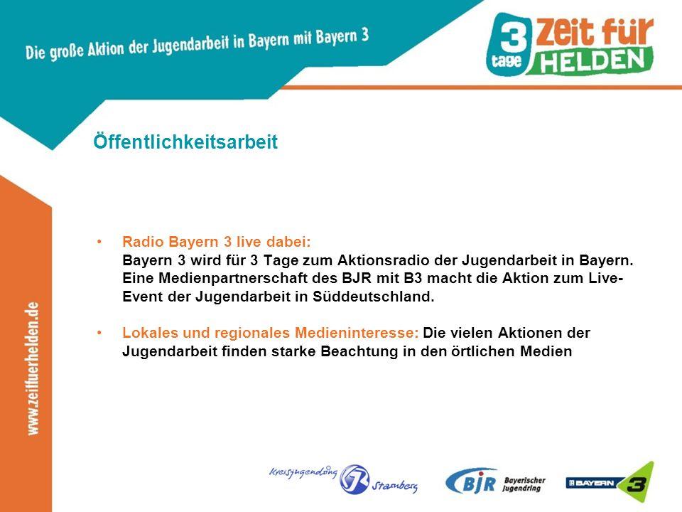 Öffentlichkeitsarbeit Radio Bayern 3 live dabei: Bayern 3 wird für 3 Tage zum Aktionsradio der Jugendarbeit in Bayern.
