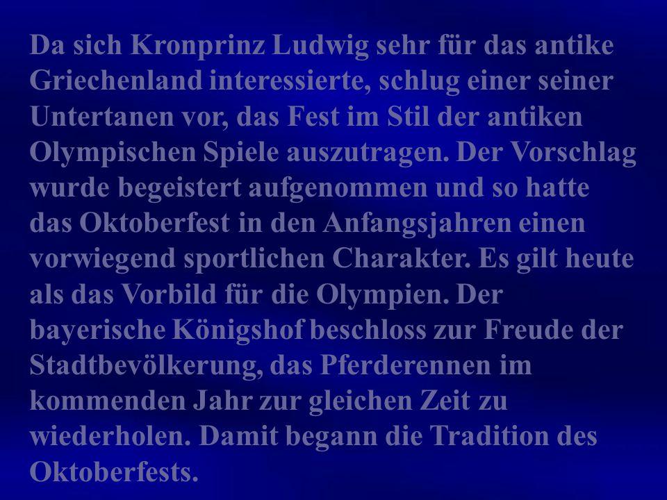Das heute bekannte große Münchener Oktoberfest blickt mittlerweile auf eine fast 200- jährige Geschichte zurück. Es fand erstmals am 17. Oktober 1810