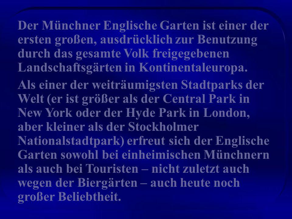 Der Englische Garten ist eine 4,17 km² große Grünanlage im Münchner Nordosten. Die Bezeichnung rührt von den Englischen Landschaftsgärten her, die von