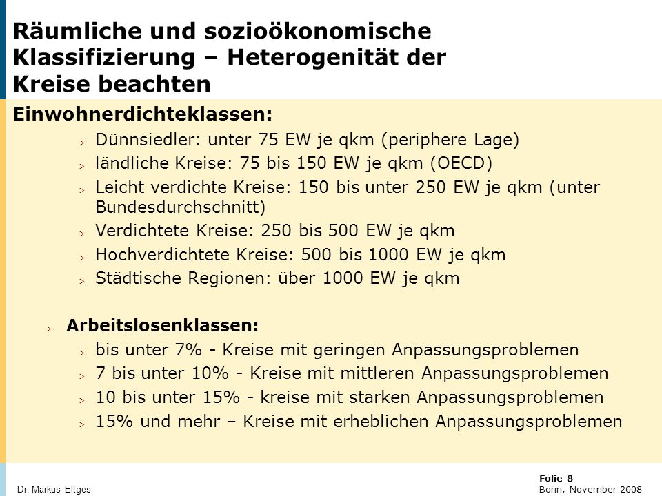 © BBR Bonn 2003 Folie 8 Bonn, November 2008 Dr.
