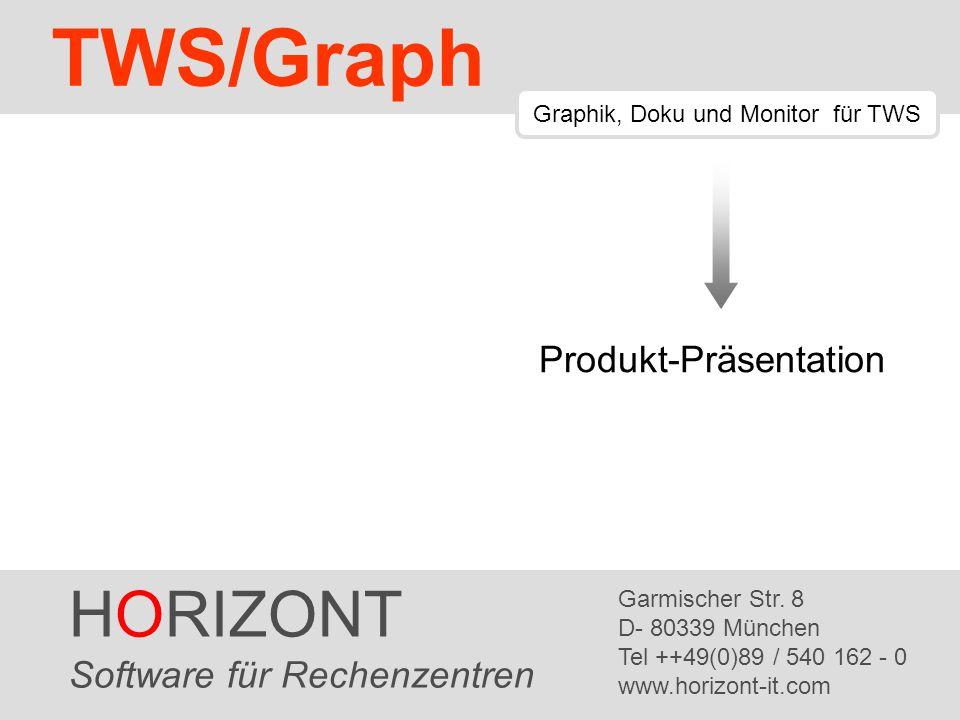 HORIZONT 12 TWS/Graph Auftragsnetz Auftrag Externe Abhängigkeit Auftragsnetze eigen sich zur Übersicht: Jeder Knoten ist ein Auftrag Nur externe Abhängigkeiten