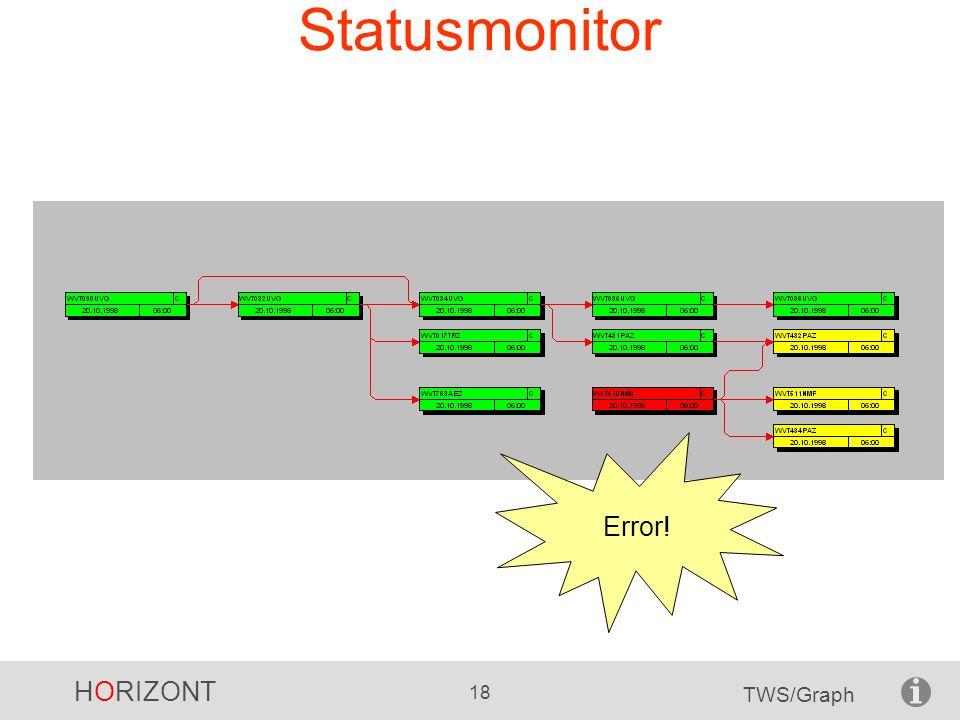 HORIZONT 18 TWS/Graph Statusmonitor Error!