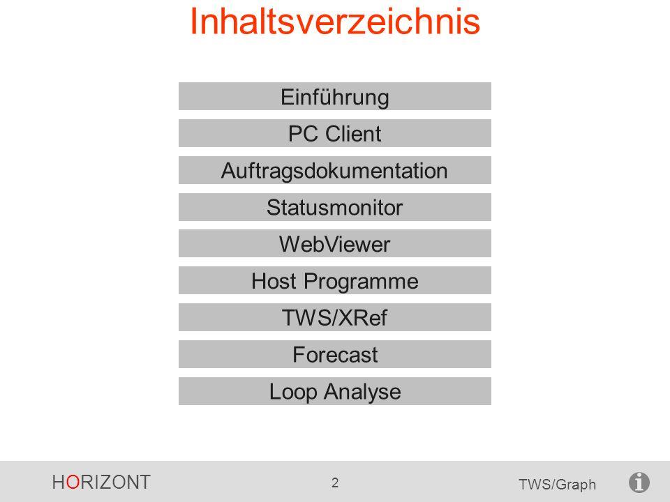 HORIZONT 13 TWS/Graph Operationsnetz Job Externe Abhängigkeit Interne Abhängigkeit Unterschiedliche Symbole, je nach Workstation-Id Operationsnetze sind wesentlich detaillierter und beinhalten: Alle Operation der gewählten Aufträge Interne und externe Abhängigkeiten
