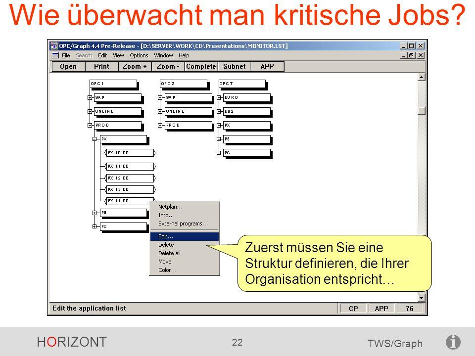 HORIZONT 22 TWS/Graph Wie überwacht man kritische Jobs? Zuerst müssen Sie eine Struktur definieren, die Ihrer Organisation entspricht…
