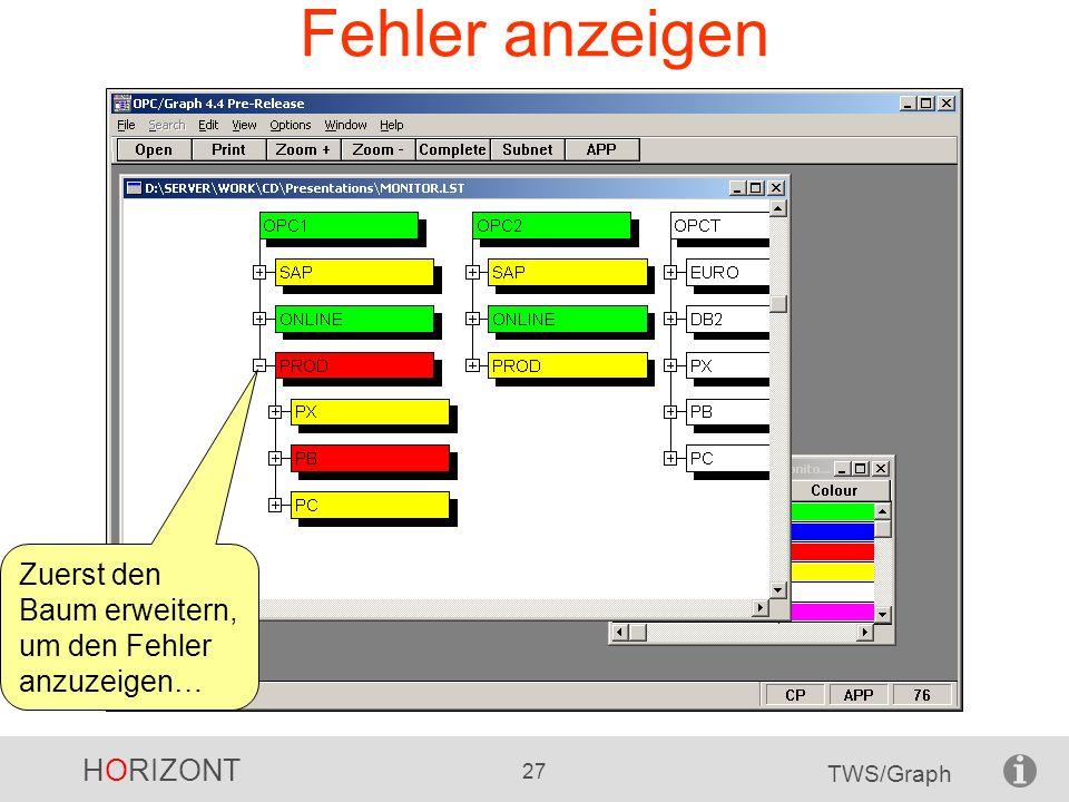 HORIZONT 27 TWS/Graph Fehler anzeigen Zuerst den Baum erweitern, um den Fehler anzuzeigen…