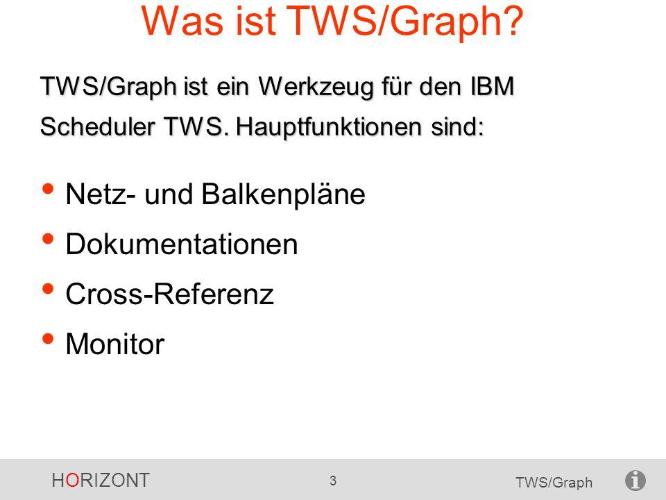 HORIZONT 3 TWS/Graph TWS/Graph ist ein Werkzeug für den IBM Scheduler TWS. Hauptfunktionen sind: Was ist TWS/Graph? Netz- und Balkenpläne Dokumentatio