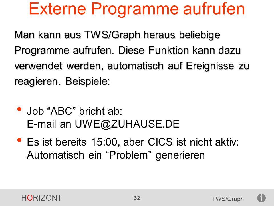 HORIZONT 32 TWS/Graph Externe Programme aufrufen Job ABC bricht ab: E-mail an UWE@ZUHAUSE.DE Es ist bereits 15:00, aber CICS ist nicht aktiv: Automati
