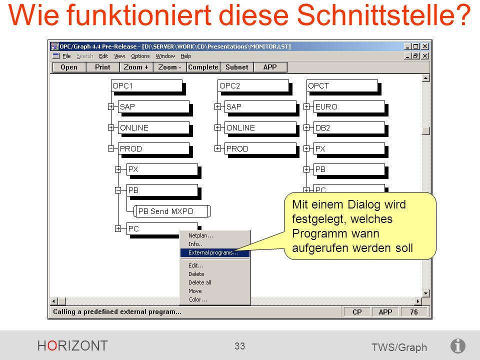 HORIZONT 33 TWS/Graph Wie funktioniert diese Schnittstelle? Mit einem Dialog wird festgelegt, welches Programm wann aufgerufen werden soll