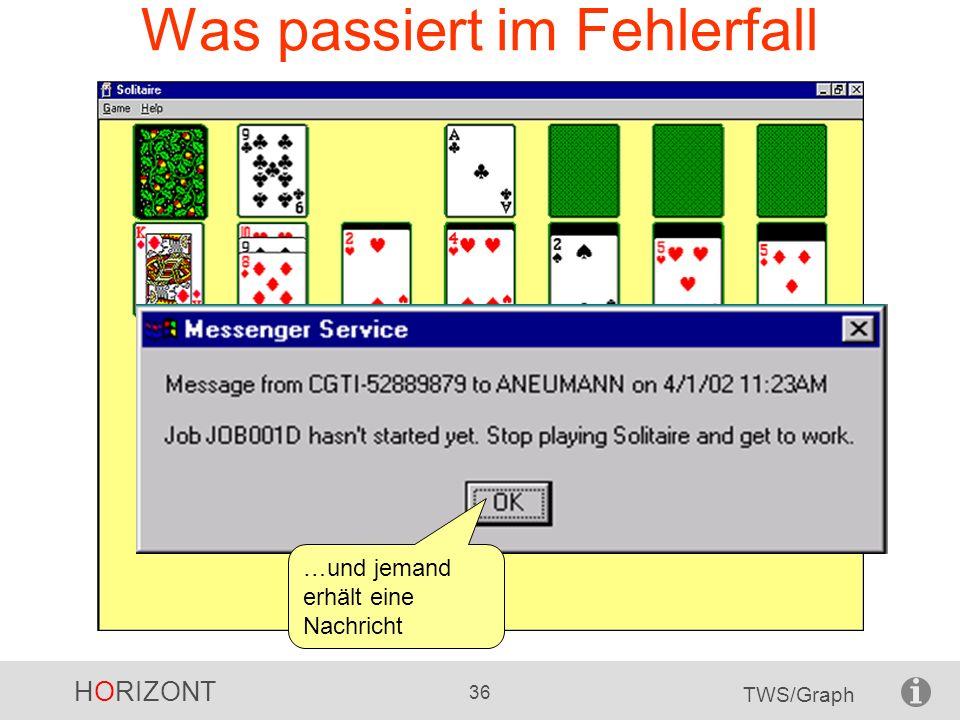 HORIZONT 36 TWS/Graph Was passiert im Fehlerfall …und jemand erhält eine Nachricht