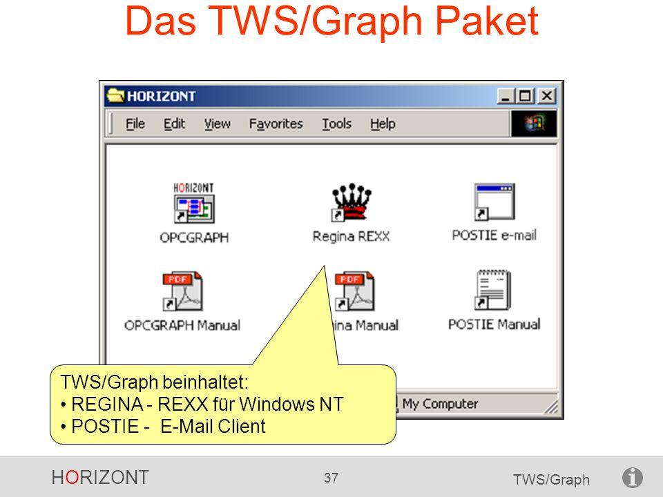 HORIZONT 37 TWS/Graph Das TWS/Graph Paket TWS/Graph beinhaltet: REGINA - REXX für Windows NT POSTIE - E-Mail Client