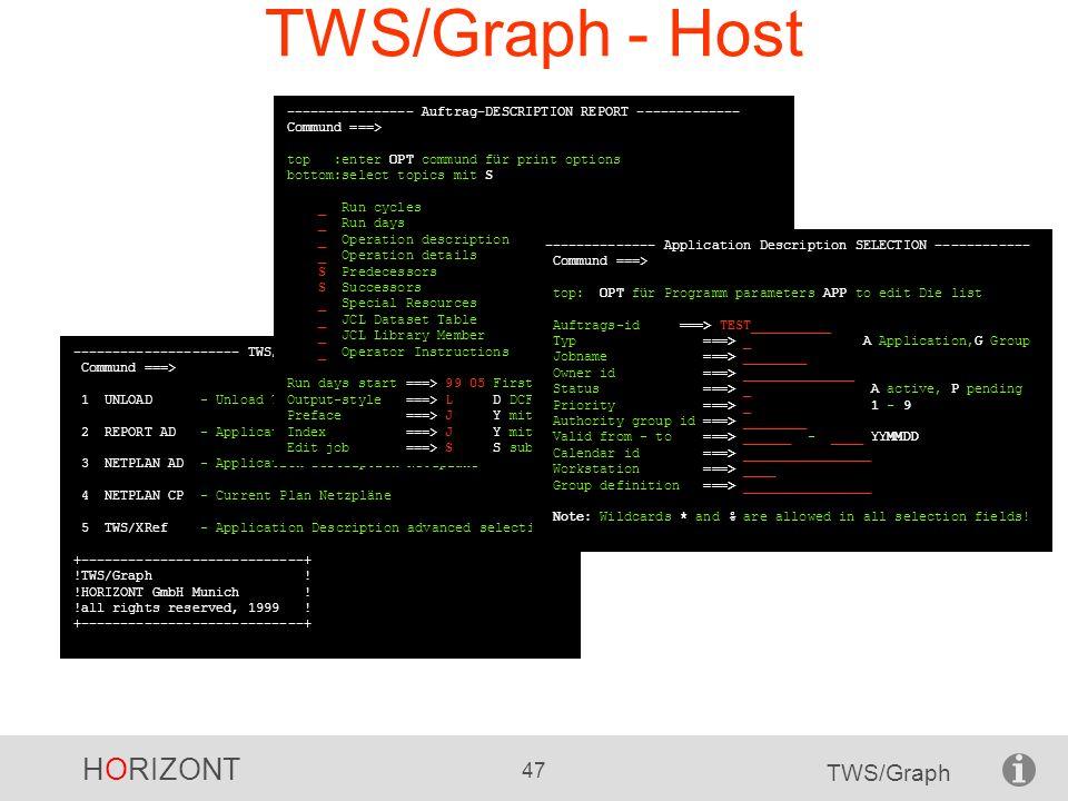 HORIZONT 47 TWS/Graph TWS/Graph - Host --------------------- TWS/Graph FUNCTIONS ------------------- Commund ===> 1 UNLOAD - Unload TWS-database für d