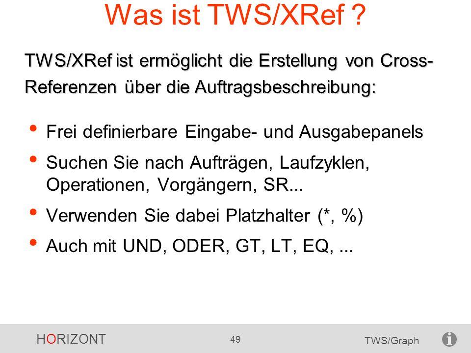 HORIZONT 49 TWS/Graph Was ist TWS/XRef ? Frei definierbare Eingabe- und Ausgabepanels Suchen Sie nach Aufträgen, Laufzyklen, Operationen, Vorgängern,