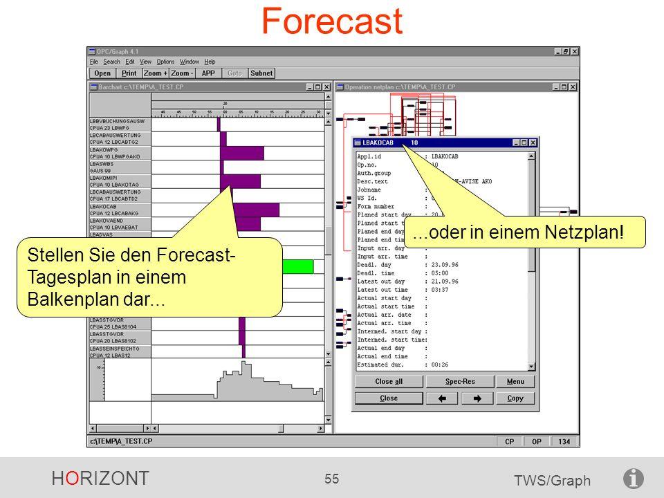 HORIZONT 55 TWS/Graph Forecast Stellen Sie den Forecast- Tagesplan in einem Balkenplan dar......oder in einem Netzplan!