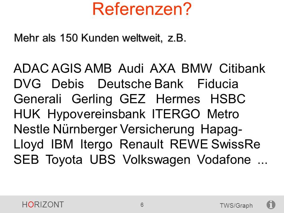 HORIZONT 6 TWS/Graph Mehr als 150 Kunden weltweit, z.B. Referenzen? ADAC AGIS AMB Audi AXA BMW Citibank DVG Debis Deutsche Bank Fiducia Generali Gerli