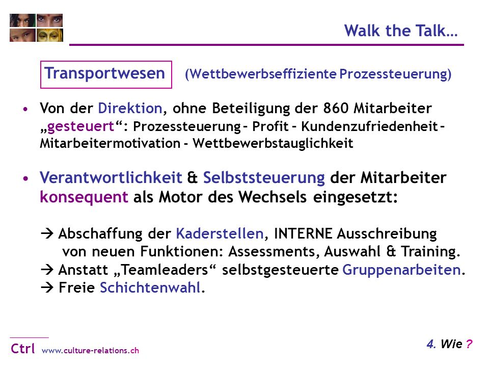 Walk the Talk… www.culture-relations.ch Ctrl 4. Wie .