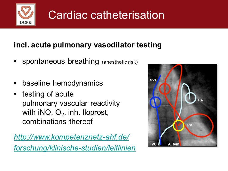 Cardiac catheterisation incl. acute pulmonary vasodilator testing spontaneous breathing (anesthetic risk) baseline hemodynamics testing of acute pulmo