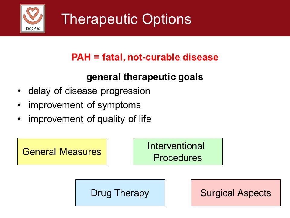 Therapeutic Options PAH = fatal, not-curable disease general therapeutic goals delay of disease progression improvement of symptoms improvement of qua