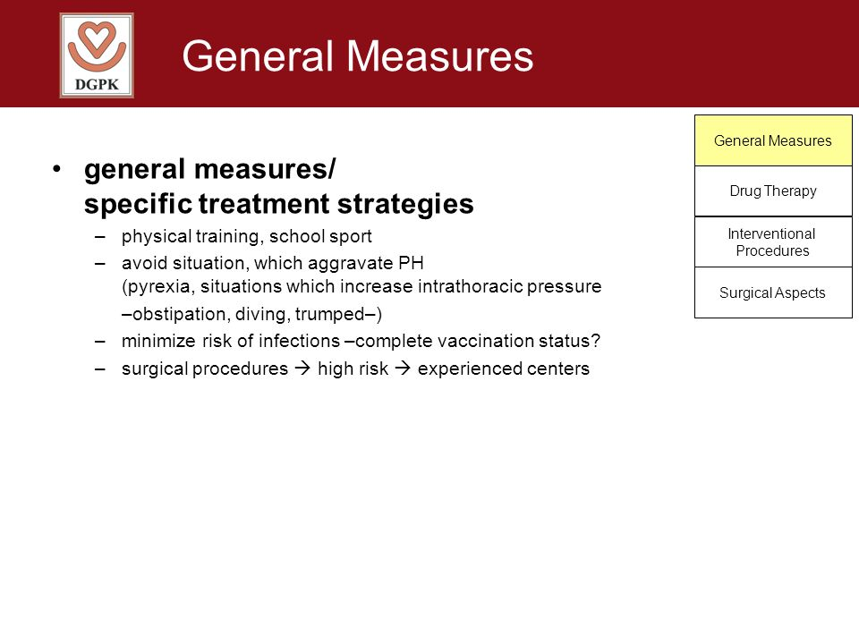 General Measures Drug Therapy Interventional Procedures Surgical Aspects general measures/ specific treatment strategies –physical training, school sp