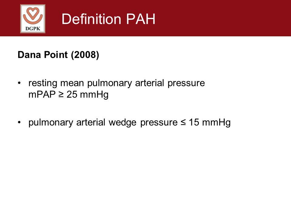Definition PAH Dana Point (2008) resting mean pulmonary arterial pressure mPAP 25 mmHg pulmonary arterial wedge pressure 15 mmHg no threshold value for pulmonary vascular resistance (PVR) even though: PVRI > 3 Wood units (U*m 2 ) pathological increased
