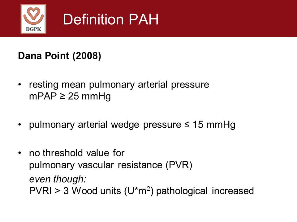 Definition PAH Dana Point (2008) resting mean pulmonary arterial pressure mPAP 25 mmHg pulmonary arterial wedge pressure 15 mmHg no threshold value fo