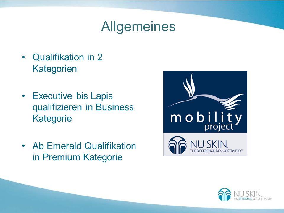 Allgemeines Qualifikation in 2 Kategorien Executive bis Lapis qualifizieren in Business Kategorie Ab Emerald Qualifikation in Premium Kategorie