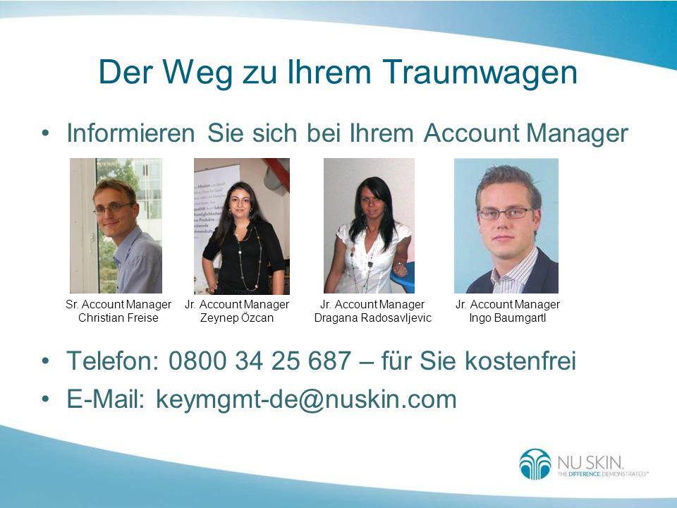 Der Weg zu Ihrem Traumwagen Informieren Sie sich bei Ihrem Account Manager Telefon: 0800 34 25 687 – für Sie kostenfrei E-Mail: keymgmt-de@nuskin.com